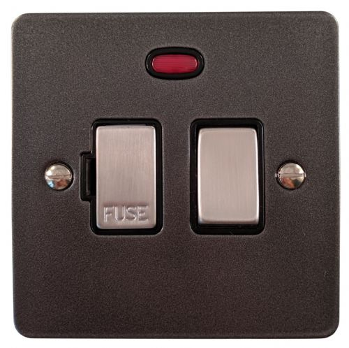G&H FP327 Flat Plate Pewter 1 Gang Fused Spur 13A Switched & Neon